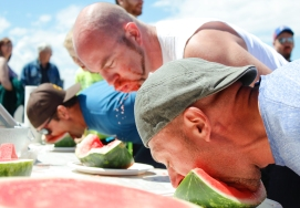 Kevin Pennyfeather Rep Staff (L-r) Finalists Jon Dennis, Jerome Caouette and Sean McGillis competed in the dads-only hands-free watermellon eating contest at the Daystar Church Father's Day Bash on June 18.