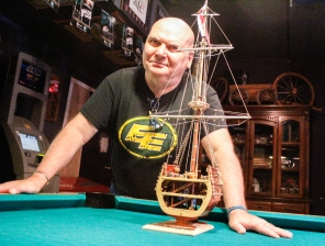 Kevin Pennyfeather/Rep staff Accomplished model ship builder Iain Bret showed off the historical cut-out of the San Francisco in Murphy's Neighbourhood Pub & Eatery on July 28. On New Year's Eve, he gifted the model to Joanie Murphy, the pub's owner, as a symbol of the restaurant's progressive culture. Bret also gave Murphy a full-length model of the HMS Victory to auction off at an annual golf tournament held by the bar on July 15. This year's tournament supported the ALS Society of Alberta.