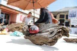 Kevin Pennyfeather/Rep staff Thousands of attendees took in the first annual Leduc Art Walk along Main Street on July 15. More than 50 artists and performers lined the street to host workshops and sell their creations — like Laura Keller's driftwood sculptures.