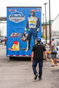 Kevin Pennyfeather/Rep staff NASCAR Pinty's Series driver Alex Tagliani held a meet and greet for race fans at the Wyndham Garden Edmonton Airport Hotel on July 28. He unloaded his stock car and set up a fastest tire-changing station for fans to try out.