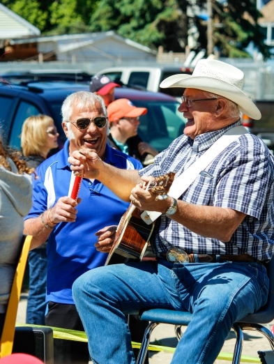 "Kevin Pennyfeather Rep Staff Dwayne Harrison (right) performed classic tunes like ""When my Blue Moon Turns to Gold Again"" at the Thorsby Thunder Days Festival on June 17. The inaugural annual festival celebrated Thorsby's new designation as a town and Canada's 150th birthday."