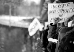 Education Protests Bridge Fist 2013